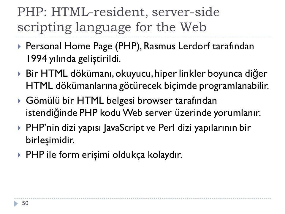 PHP: HTML-resident, server-side scripting language for the Web