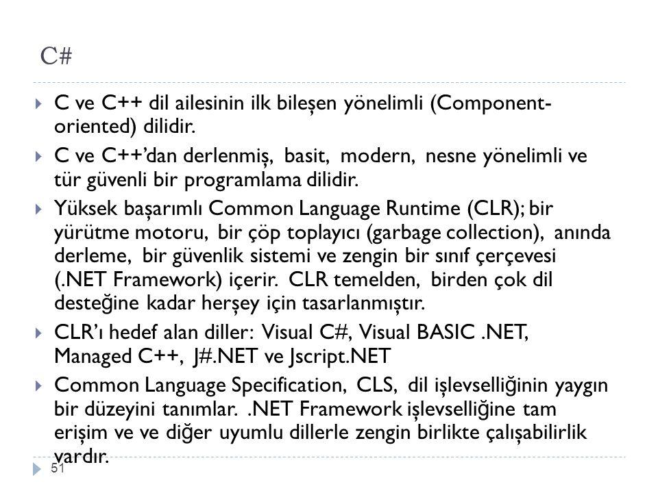 C# C ve C++ dil ailesinin ilk bileşen yönelimli (Component- oriented) dilidir.