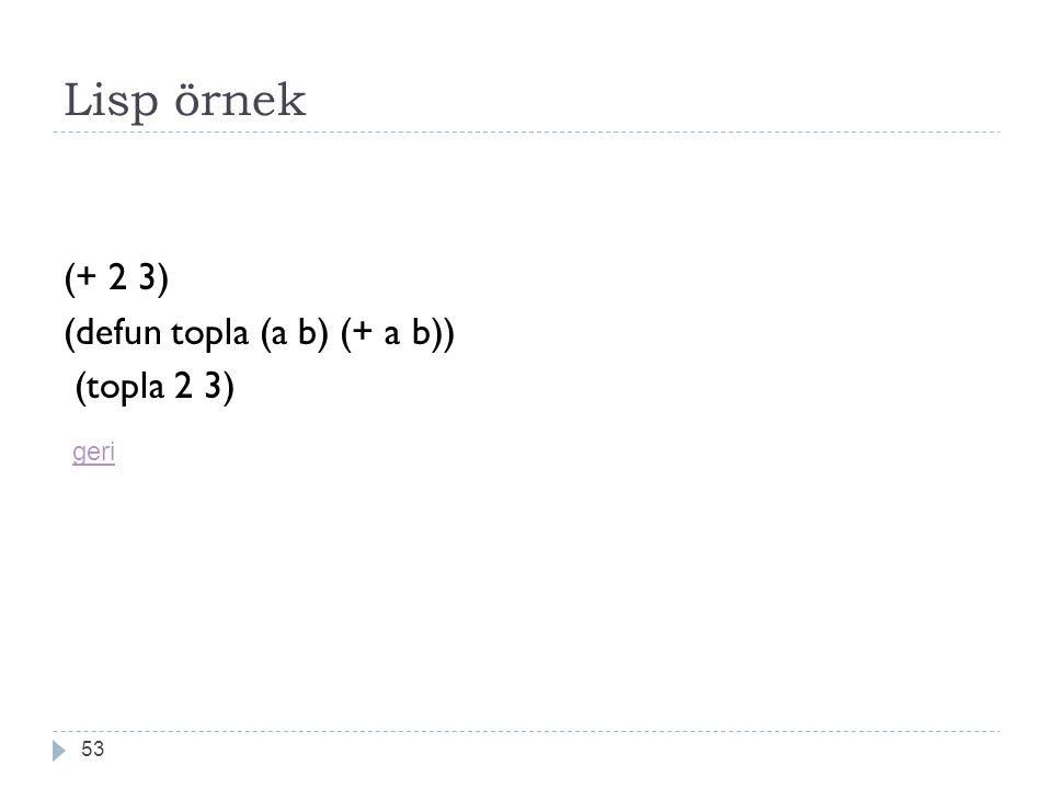 Lisp örnek (+ 2 3) (defun topla (a b) (+ a b)) (topla 2 3) geri