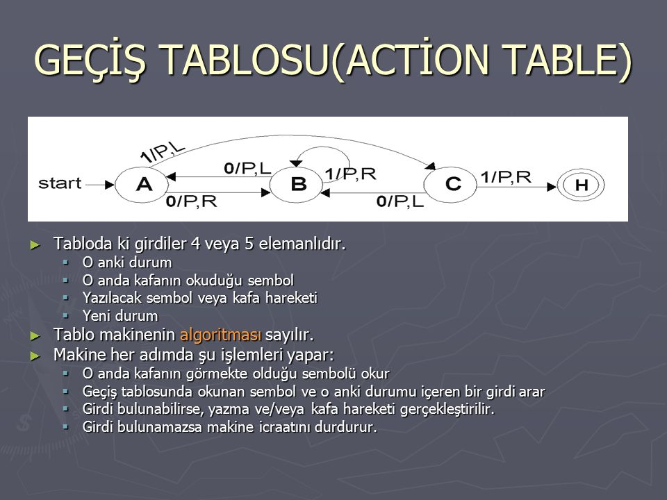 GEÇİŞ TABLOSU(ACTİON TABLE)