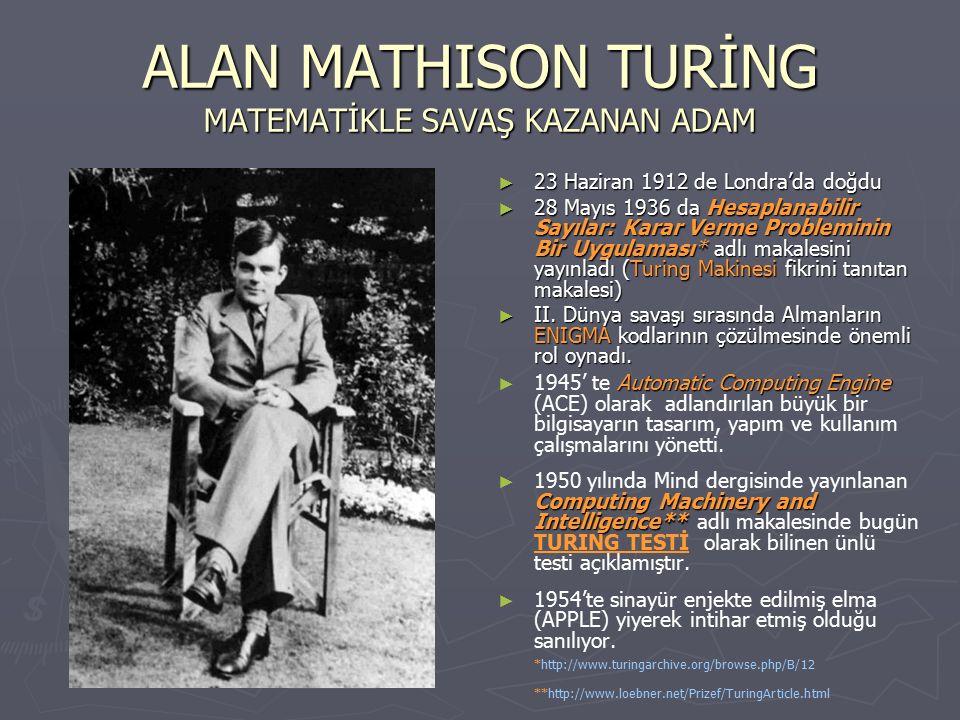 ALAN MATHISON TURİNG MATEMATİKLE SAVAŞ KAZANAN ADAM