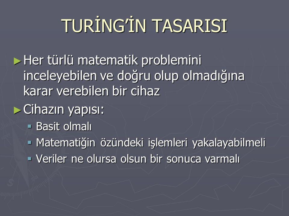 TURİNG'İN TASARISI Her türlü matematik problemini inceleyebilen ve doğru olup olmadığına karar verebilen bir cihaz.