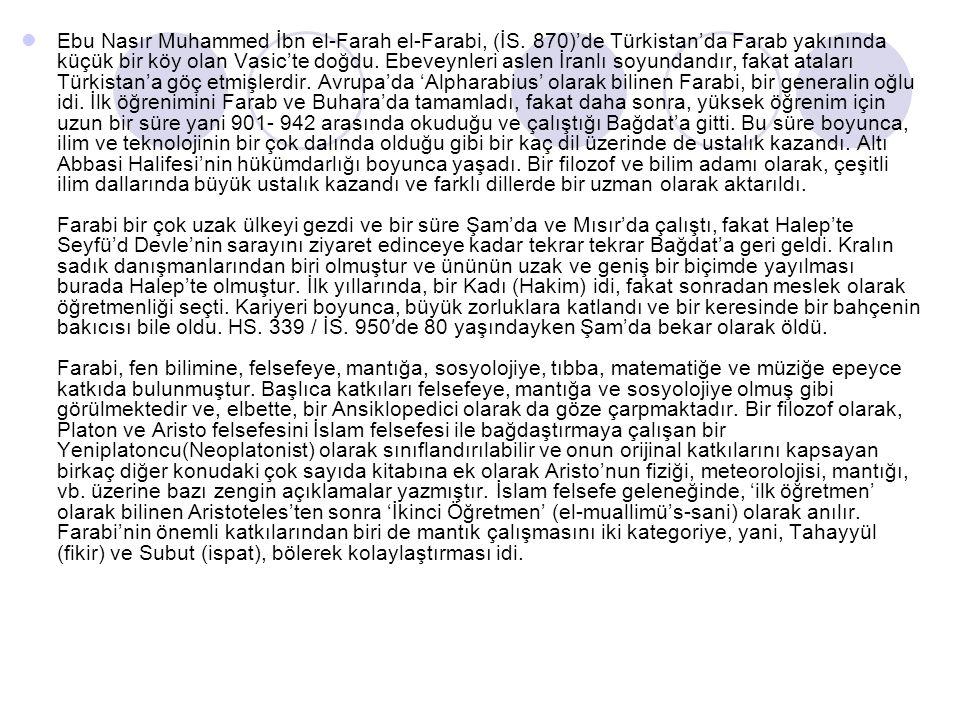 Ebu Nasır Muhammed İbn el-Farah el-Farabi, (İS