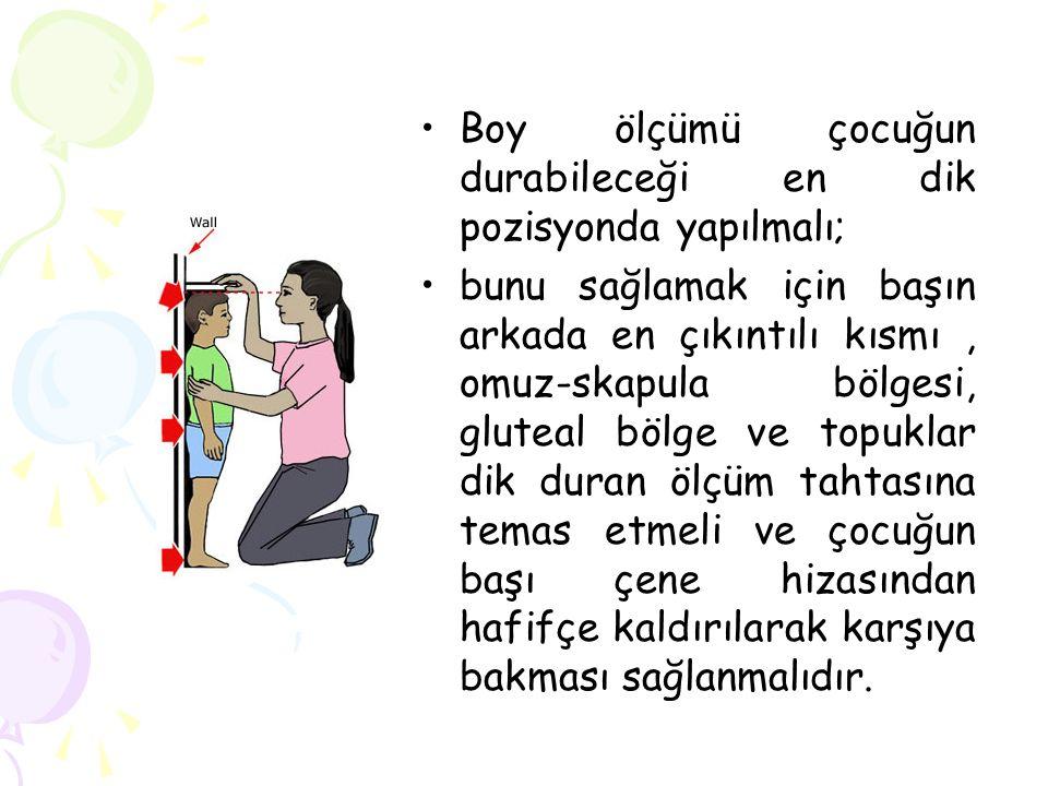 Boy ölçümü çocuğun durabileceği en dik pozisyonda yapılmalı;