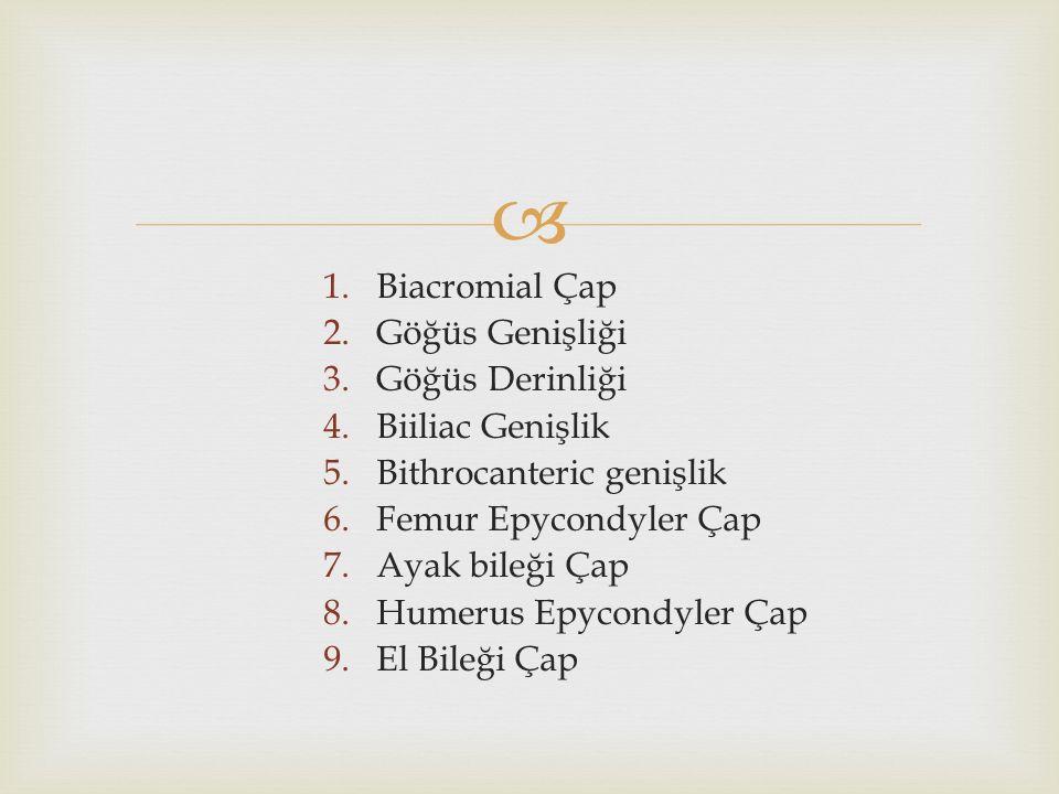 Biacromial Çap Göğüs Genişliği. Göğüs Derinliği. Biiliac Genişlik. Bithrocanteric genişlik. Femur Epycondyler Çap.