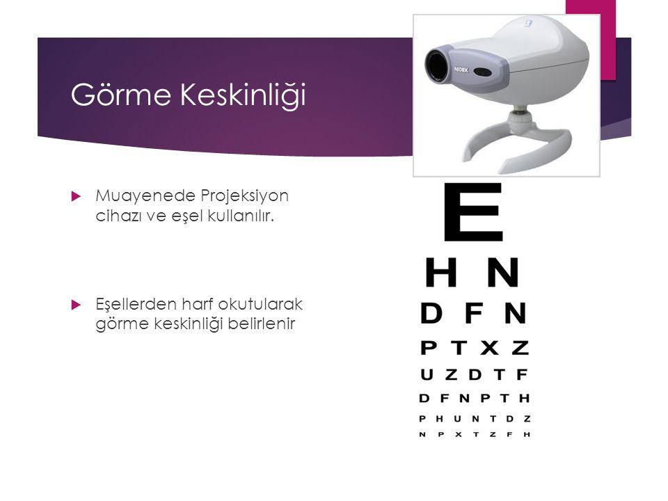 Görme Keskinliği Muayenede Projeksiyon cihazı ve eşel kullanılır.