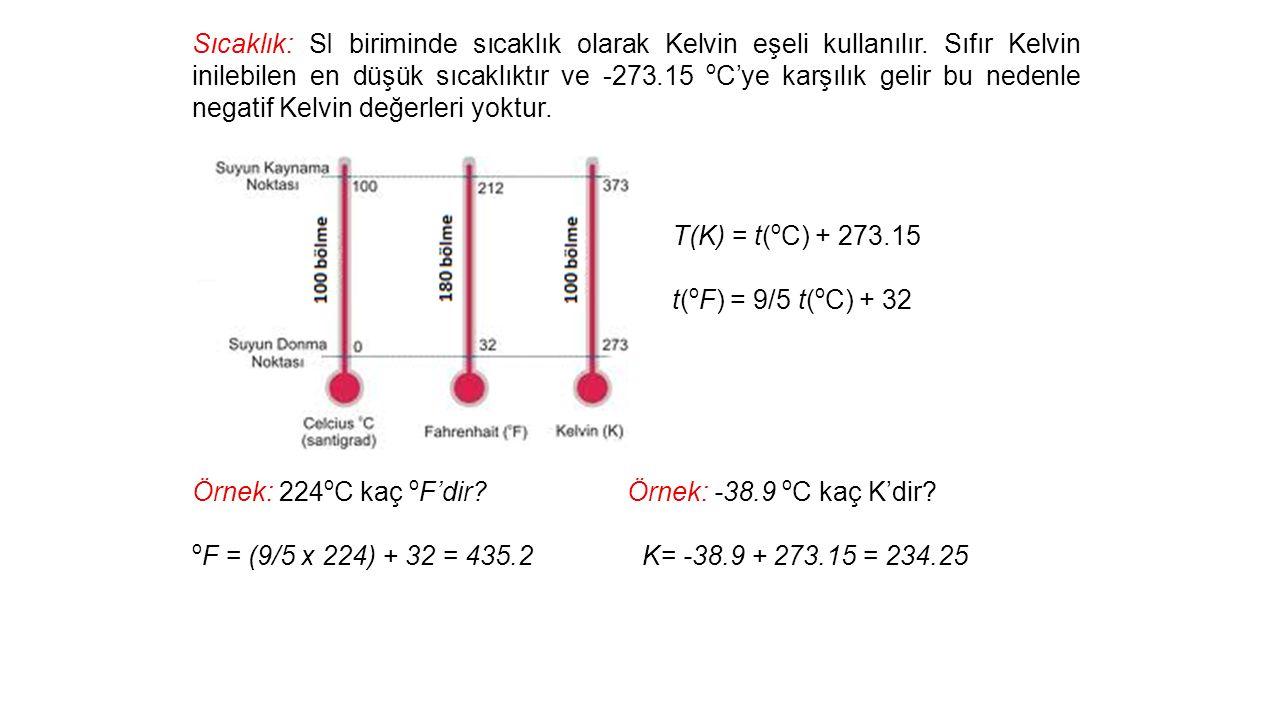 Sıcaklık: SI biriminde sıcaklık olarak Kelvin eşeli kullanılır