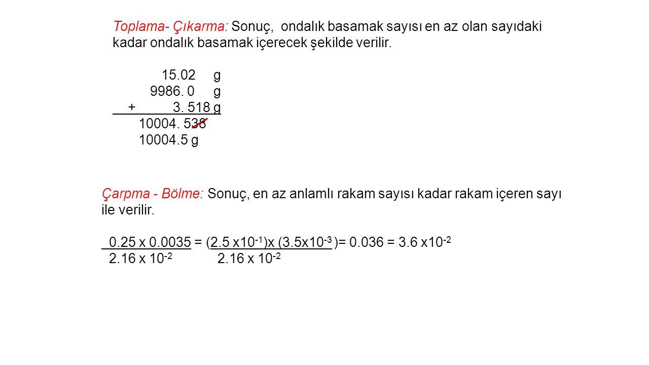 Toplama- Çıkarma: Sonuç, ondalık basamak sayısı en az olan sayıdaki kadar ondalık basamak içerecek şekilde verilir.
