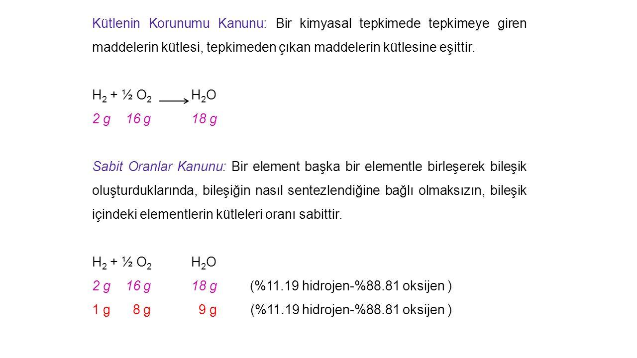 Kütlenin Korunumu Kanunu: Bir kimyasal tepkimede tepkimeye giren maddelerin kütlesi, tepkimeden çıkan maddelerin kütlesine eşittir.