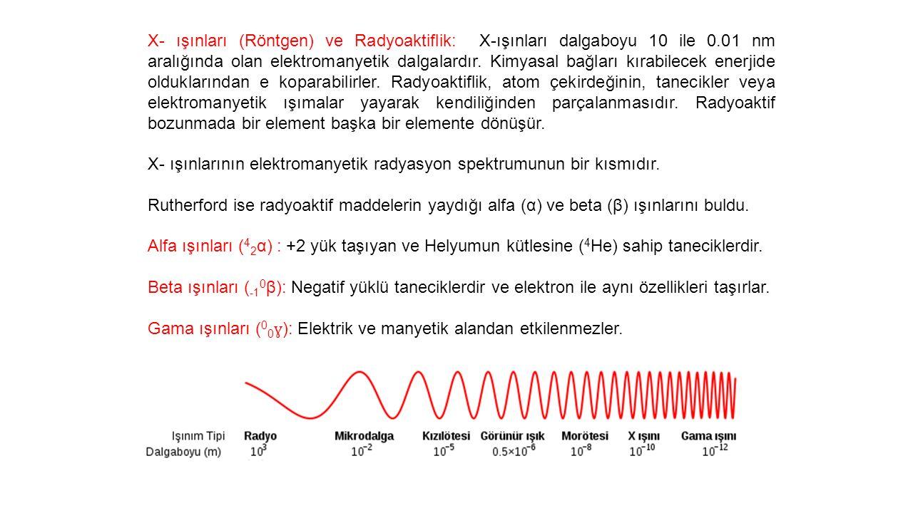 X- ışınları (Röntgen) ve Radyoaktiflik: X-ışınları dalgaboyu 10 ile 0