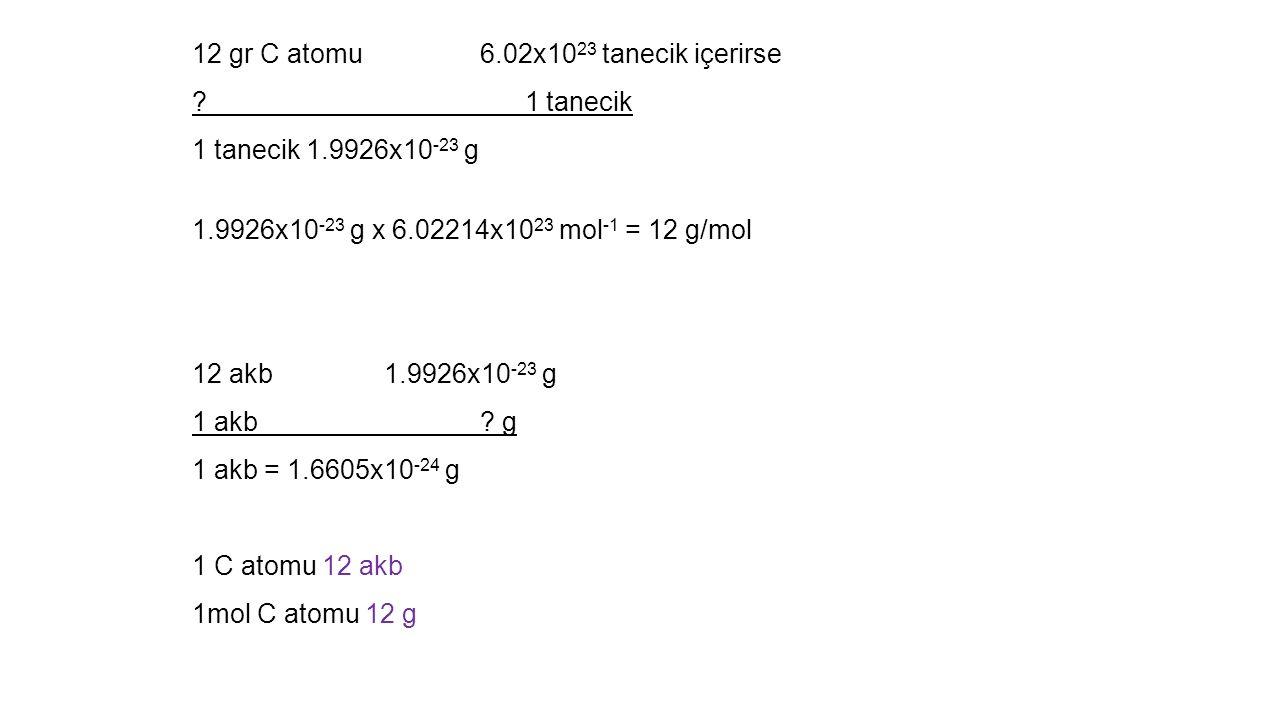 12 gr C atomu 6.02x1023 tanecik içerirse