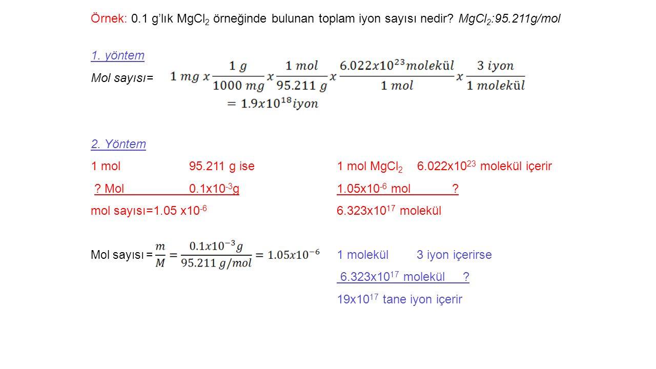 1 mol 95.211 g ise 1 mol MgCl2 6.022x1023 molekül içerir