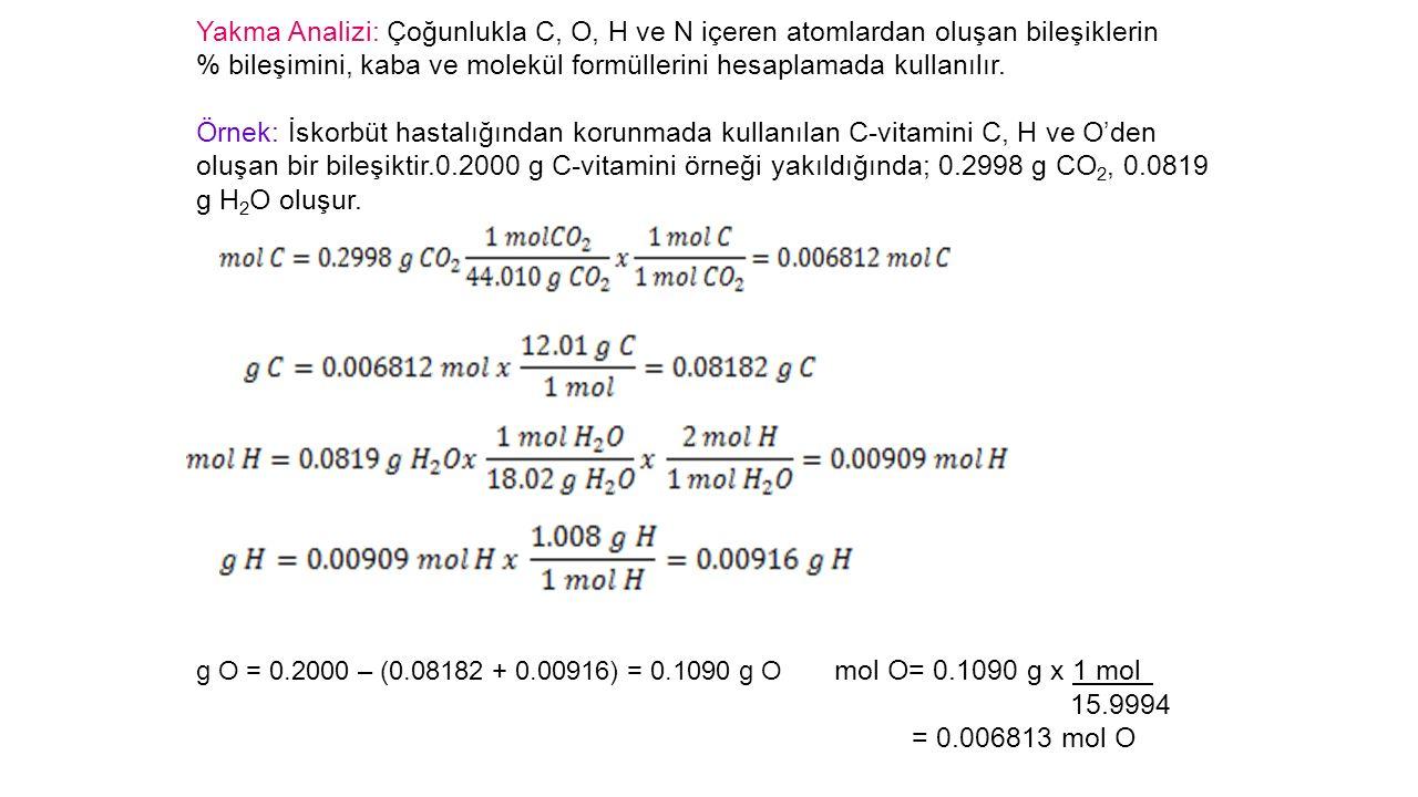 % bileşimini, kaba ve molekül formüllerini hesaplamada kullanılır.