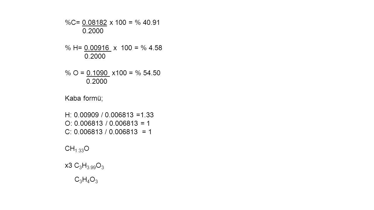 %C= 0.08182 x 100 = % 40.91 0.2000. % H= 0.00916 x 100 = % 4.58. % O = 0.1090 x100 = % 54.50. Kaba formü;