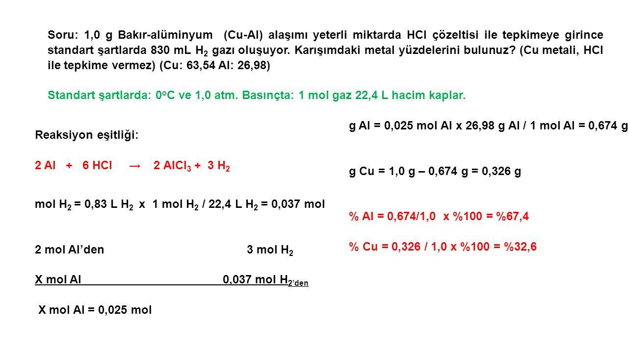 Soru: 1,0 g Bakır-alüminyum (Cu-AI) alaşımı yeterli miktarda HCI çözeltisi ile tepkimeye girince standart şartlarda 830 mL H2 gazı oluşuyor. Karışımdaki metal yüzdelerini bulunuz (Cu metali, HCI ile tepkime vermez) (Cu: 63,54 AI: 26,98)
