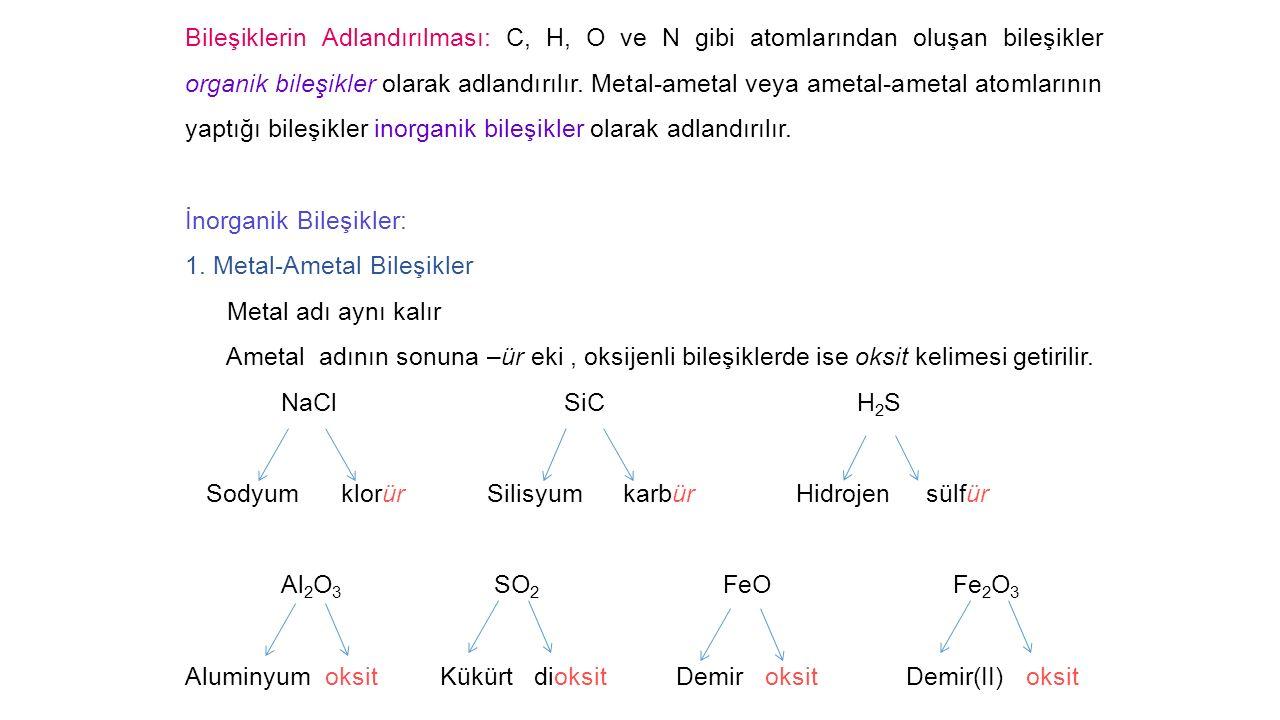 Bileşiklerin Adlandırılması: C, H, O ve N gibi atomlarından oluşan bileşikler organik bileşikler olarak adlandırılır. Metal-ametal veya ametal-ametal atomlarının yaptığı bileşikler inorganik bileşikler olarak adlandırılır.