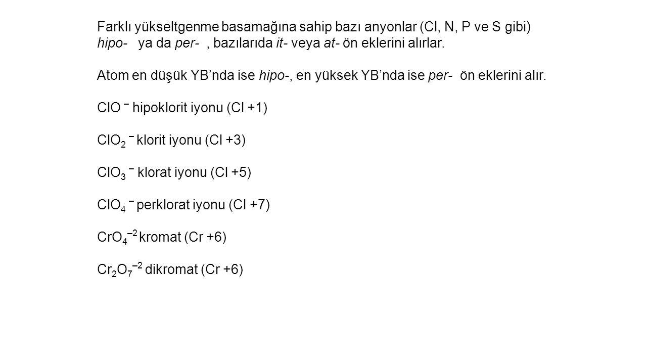 Farklı yükseltgenme basamağına sahip bazı anyonlar (Cl, N, P ve S gibi)