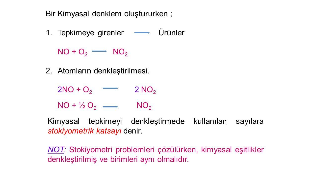 Bir Kimyasal denklem oluştururken ;