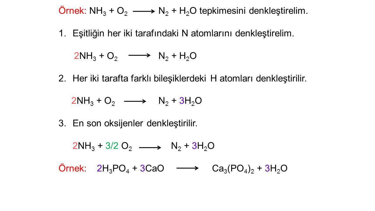 Örnek: NH3 + O2 N2 + H2O tepkimesini denkleştirelim.
