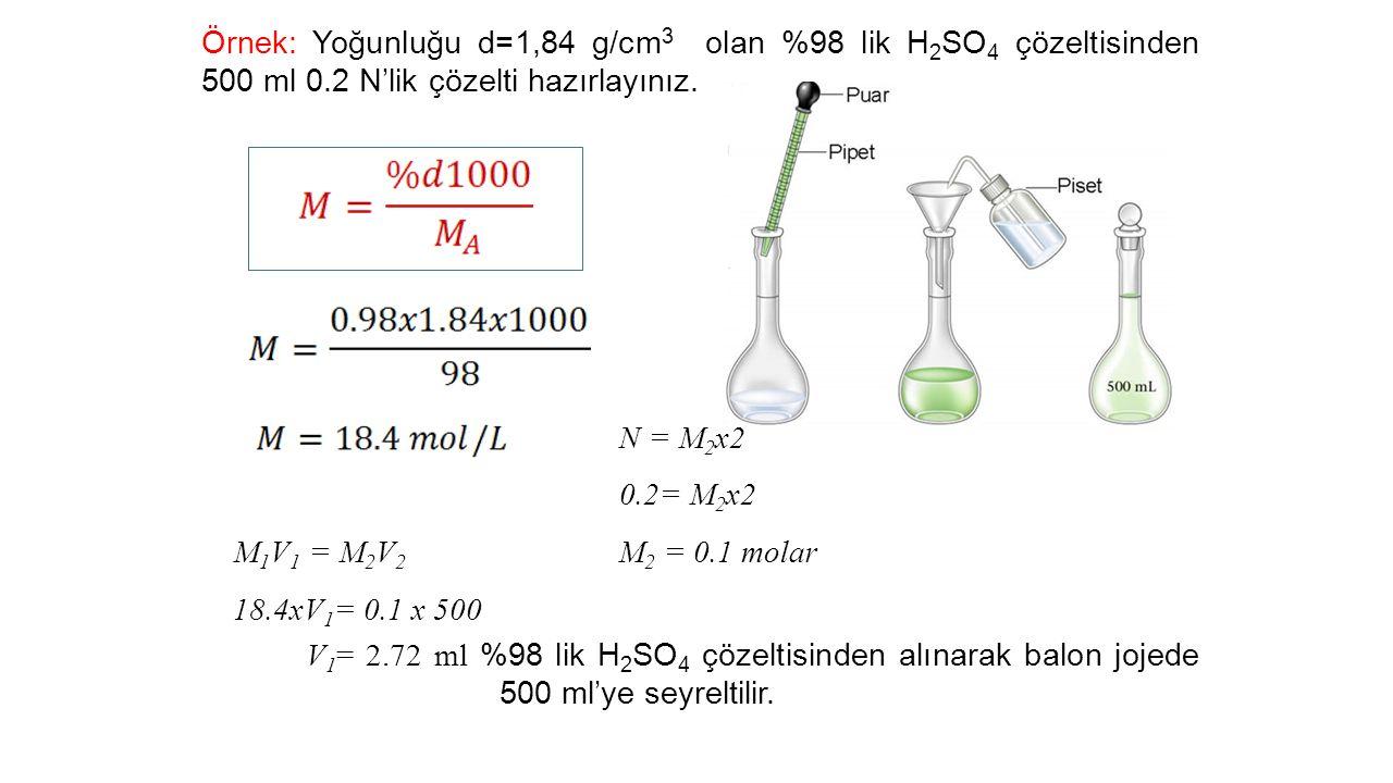 Örnek: Yoğunluğu d=1,84 g/cm3 olan %98 lik H2SO4 çözeltisinden 500 ml 0.2 N'lik çözelti hazırlayınız.