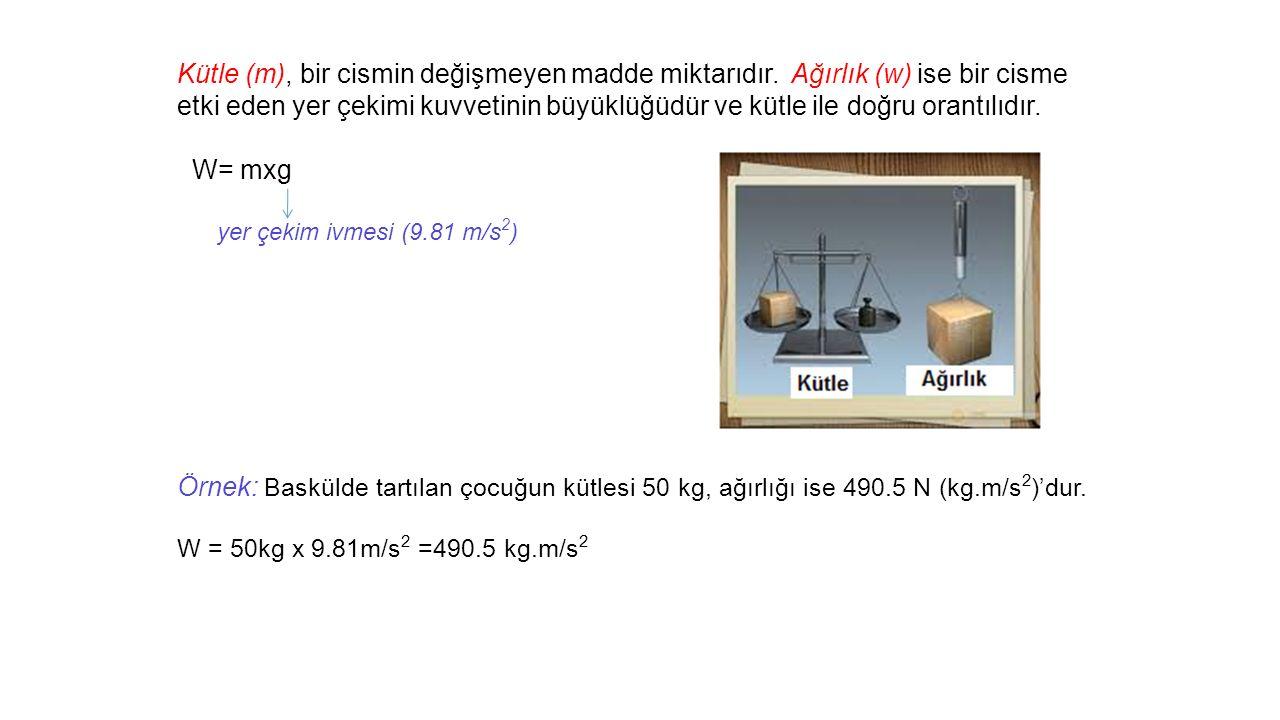 Kütle (m), bir cismin değişmeyen madde miktarıdır