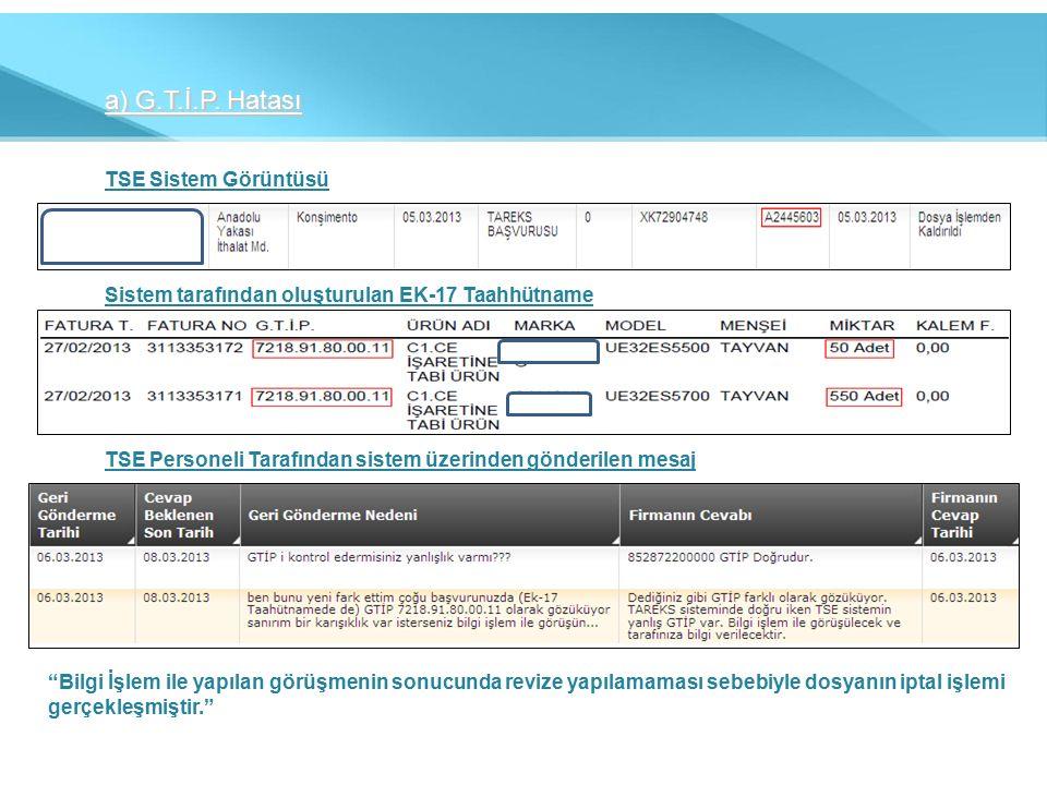 a) G.T.İ.P. Hatası TSE Sistem Görüntüsü