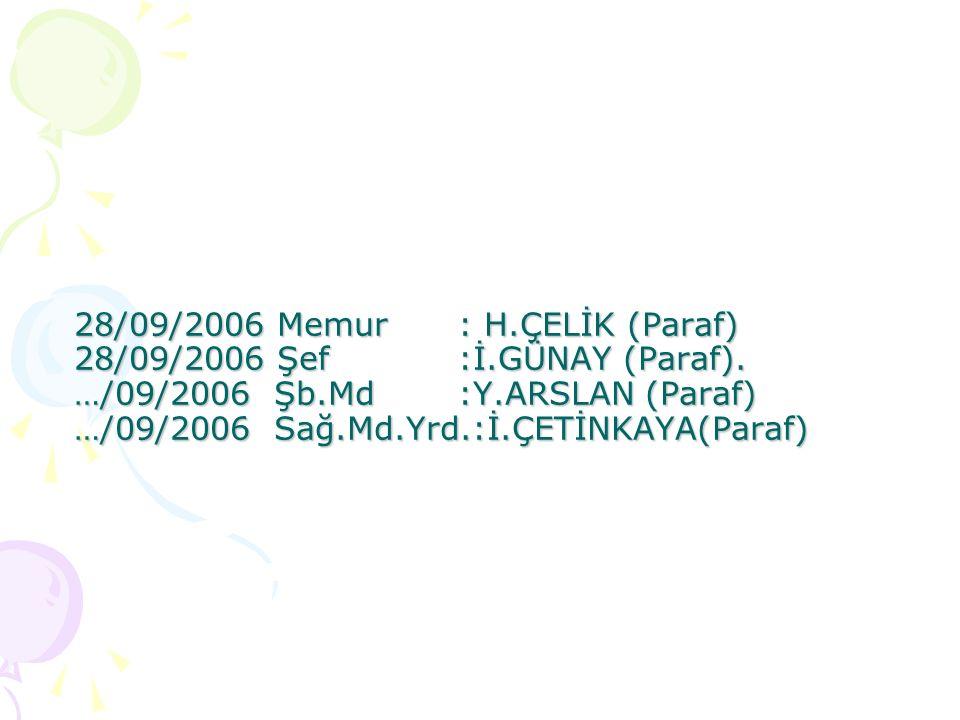 28/09/2006 Memur. : H. ÇELİK (Paraf) 28/09/2006 Şef. :İ. GÜNAY (Paraf)