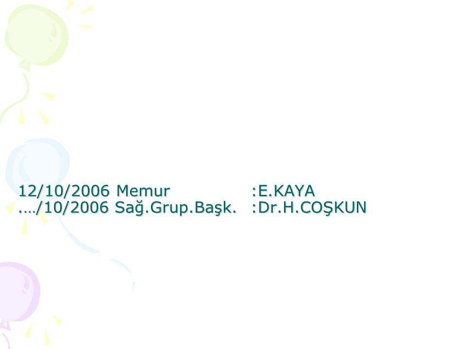 12/10/2006 Memur :E.KAYA .…/10/2006 Sağ.Grup.Başk. :Dr.H.COŞKUN
