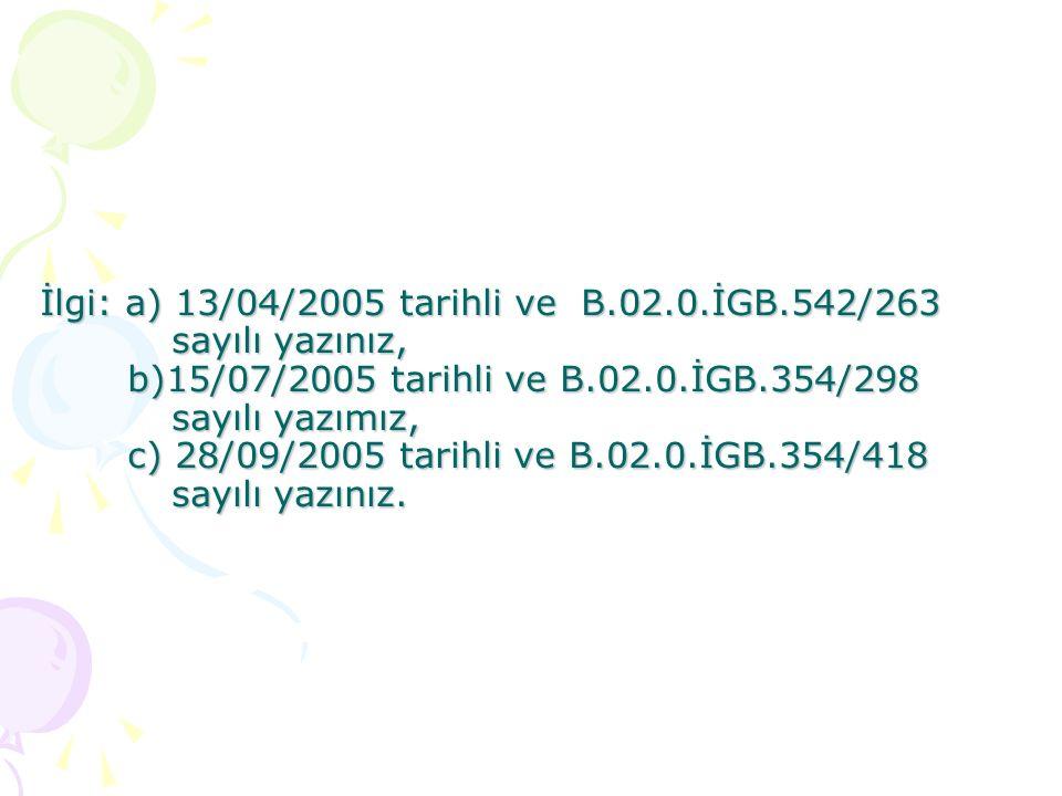 İlgi: a) 13/04/2005 tarihli ve B. 02. İGB. 542/263