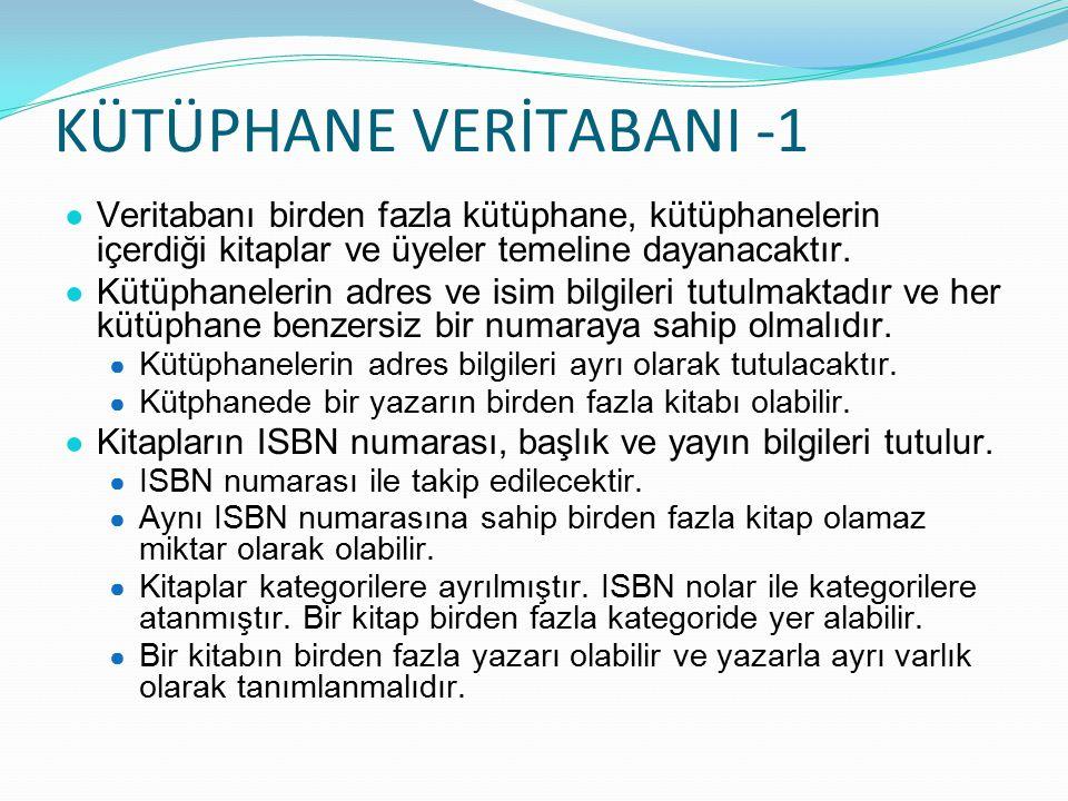 KÜTÜPHANE VERİTABANI -1