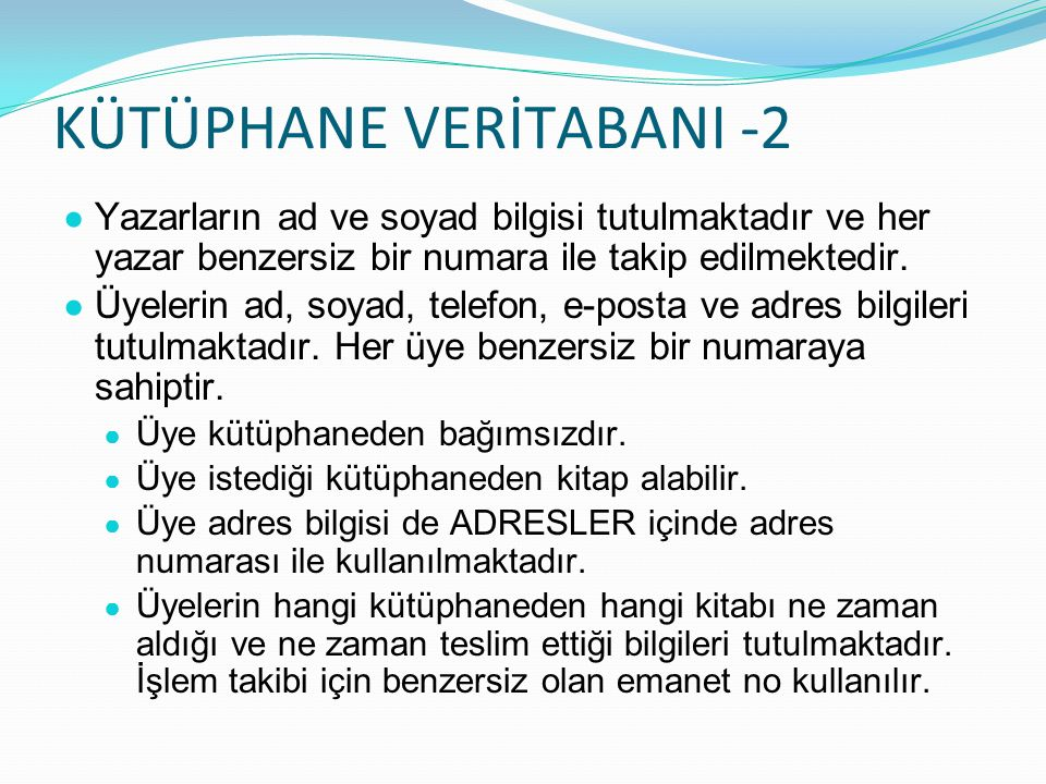 KÜTÜPHANE VERİTABANI -2