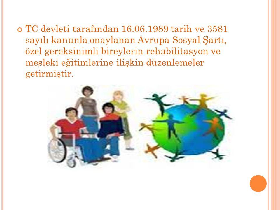 TC devleti tarafından 16.06.1989 tarih ve 3581 sayılı kanunla onaylanan Avrupa Sosyal Şartı, özel gereksinimli bireylerin rehabilitasyon ve mesleki eğitimlerine ilişkin düzenlemeler getirmiştir.