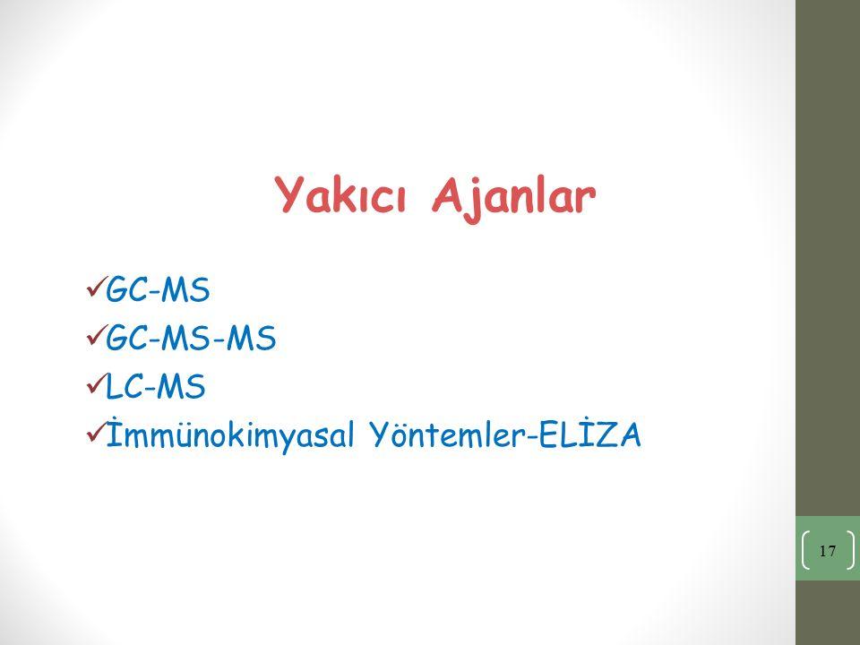 Yakıcı Ajanlar GC-MS GC-MS-MS LC-MS İmmünokimyasal Yöntemler-ELİZA