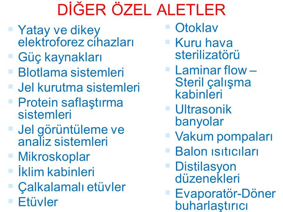 DİĞER ÖZEL ALETLER Otoklav Yatay ve dikey elektroforez cihazları