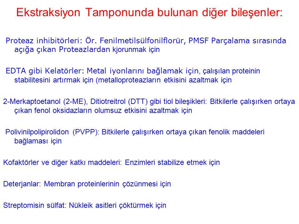 Ekstraksiyon Tamponunda bulunan diğer bileşenler:
