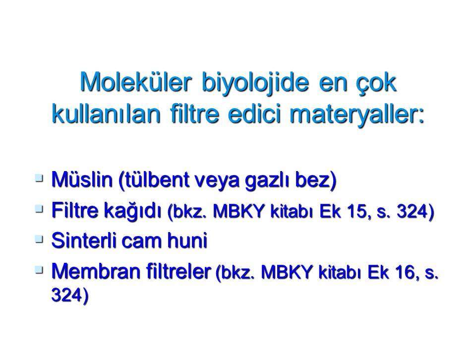 Moleküler biyolojide en çok kullanılan filtre edici materyaller: