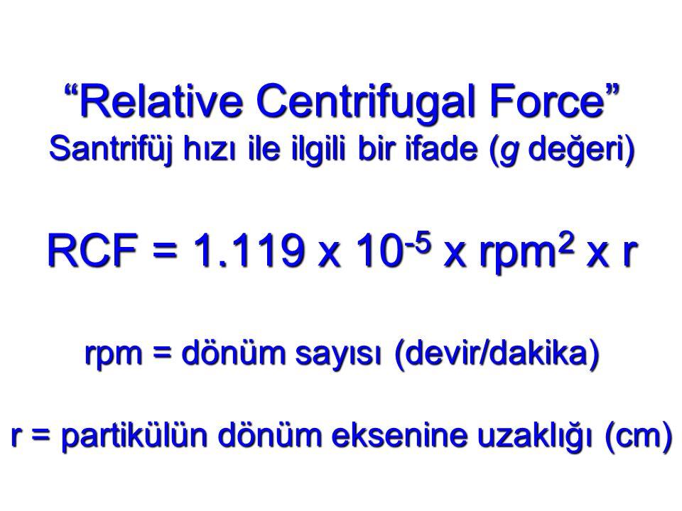 Relative Centrifugal Force Santrifüj hızı ile ilgili bir ifade (g değeri) RCF = 1.119 x 10-5 x rpm2 x r rpm = dönüm sayısı (devir/dakika) r = partikülün dönüm eksenine uzaklığı (cm)