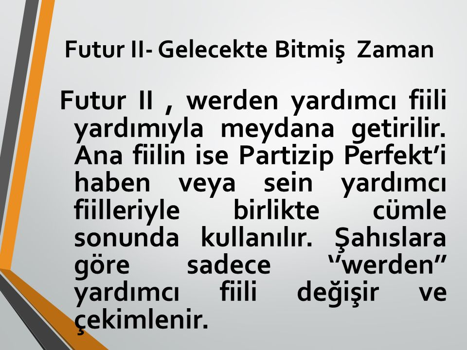 Futur II- Gelecekte Bitmiş Zaman