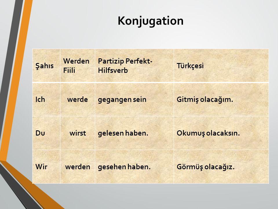 Konjugation Şahıs Werden Fiili Partizip Perfekt-Hilfsverb Türkçesi Ich