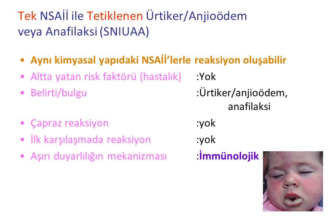 Tek NSAİİ ile Tetiklenen Ürtiker/Anjioödem veya Anafilaksi (SNIUAA)