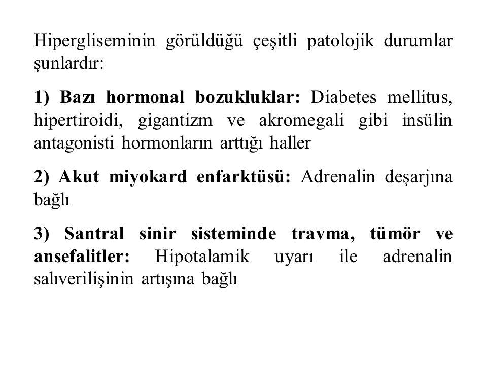 Hipergliseminin görüldüğü çeşitli patolojik durumlar şunlardır: