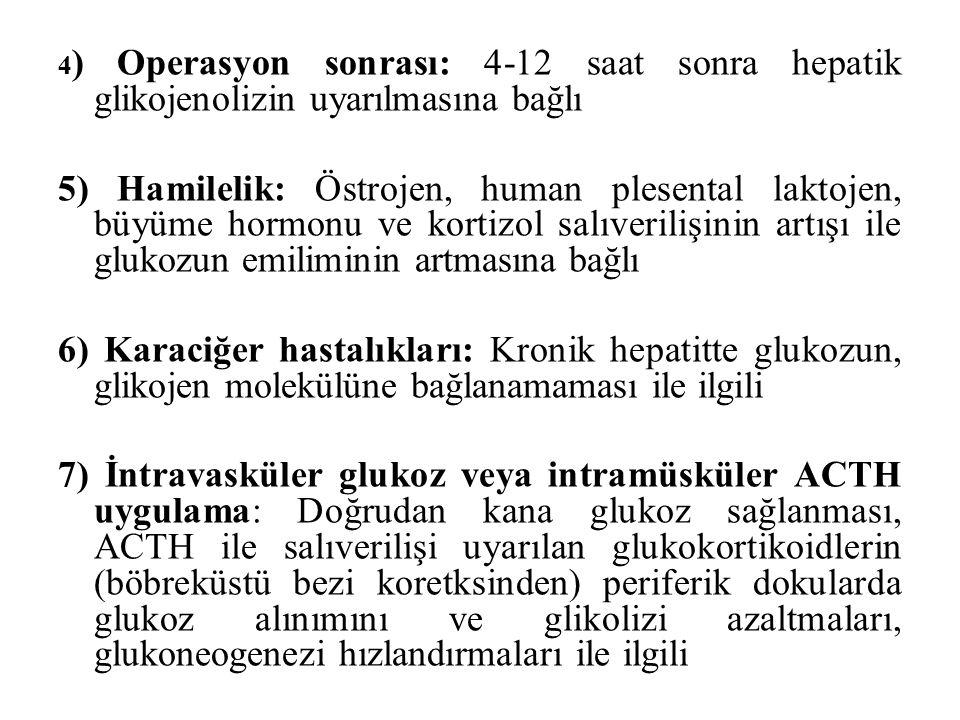 4) Operasyon sonrası: 4-12 saat sonra hepatik glikojenolizin uyarılmasına bağlı