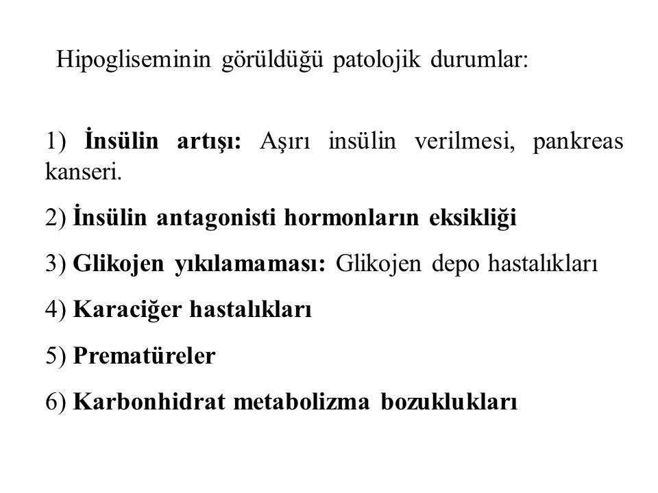 Hipogliseminin görüldüğü patolojik durumlar: