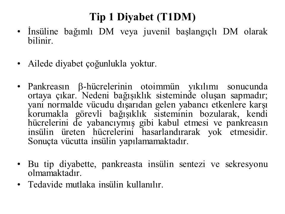 Tip 1 Diyabet (T1DM) İnsüline bağımlı DM veya juvenil başlangıçlı DM olarak bilinir. Ailede diyabet çoğunlukla yoktur.