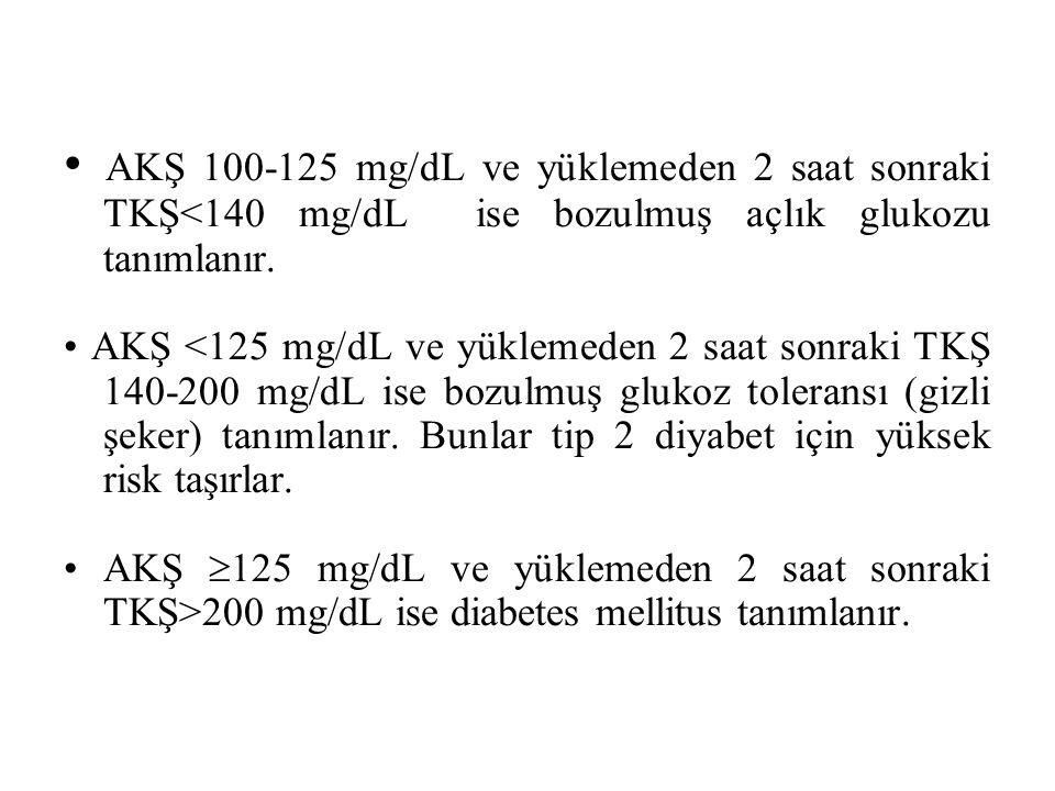 • AKŞ 100-125 mg/dL ve yüklemeden 2 saat sonraki TKŞ<140 mg/dL ise bozulmuş açlık glukozu tanımlanır.