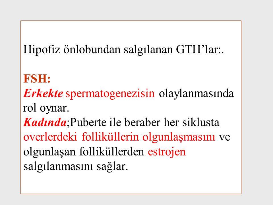 Hipofiz önlobundan salgılanan GTH'lar: