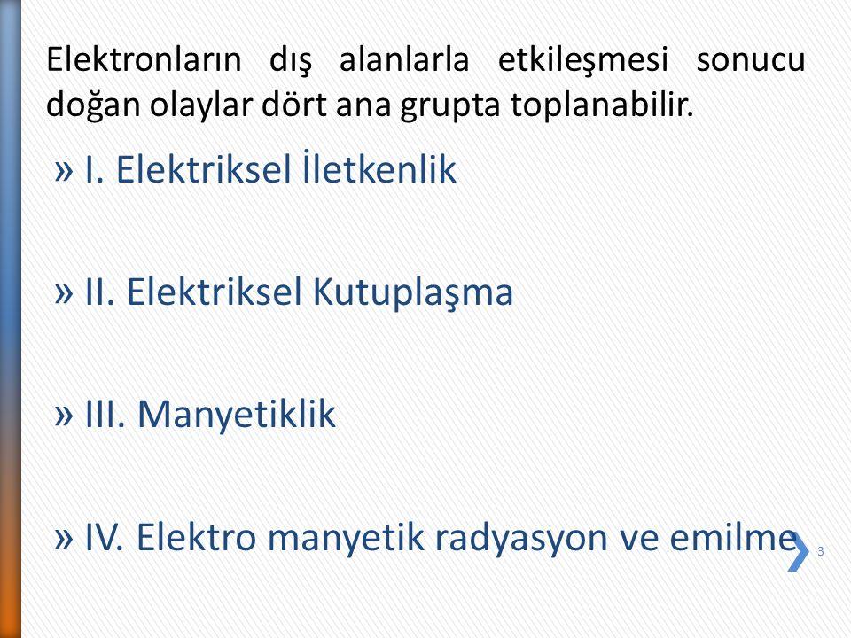 I. Elektriksel İletkenlik II. Elektriksel Kutuplaşma III. Manyetiklik