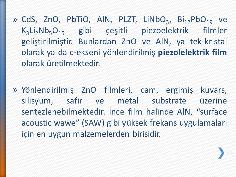 CdS, ZnO, PbTiO, AlN, PLZT, LiNbO3, Bi12PbO19 ve K3Li2Nb5O15 gibi çeşitli piezoelektrik filmler geliştirilmiştir. Bunlardan ZnO ve AlN, ya tek-kristal olarak ya da c-ekseni yönlendirilmiş piezolelektrik film olarak üretilmektedir.