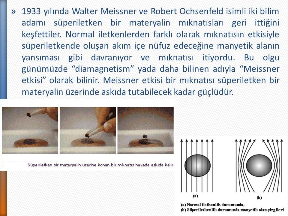 1933 yılında Walter Meissner ve Robert Ochsenfeld isimli iki bilim adamı süperiletken bir materyalin mıknatısları geri ittiğini keşfettiler.