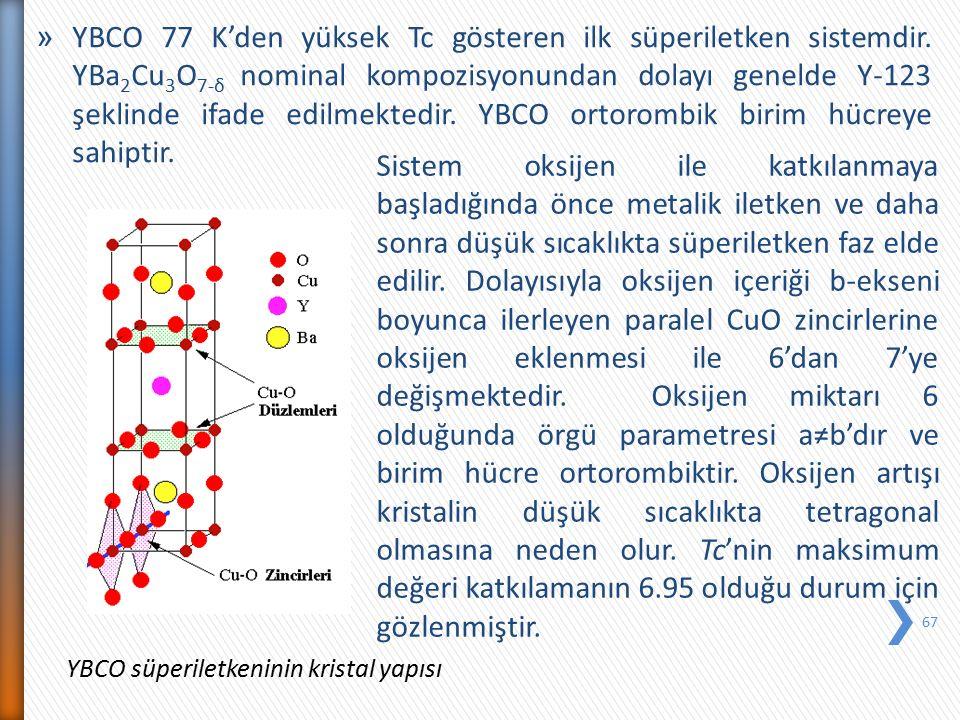 YBCO 77 K'den yüksek Tc gösteren ilk süperiletken sistemdir